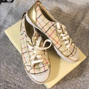 Coach Barrett shoes in ivory and multi/ gold